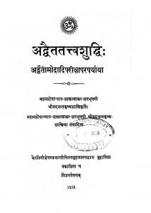 Adwaitatavva Shuddhi by अनंत कृष्ण शास्त्री - Anant Krishna Shastri